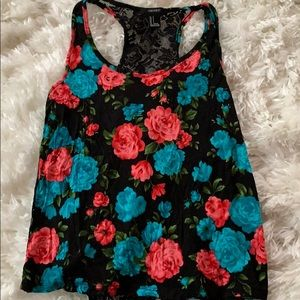 Forever 21 floral lace back tank
